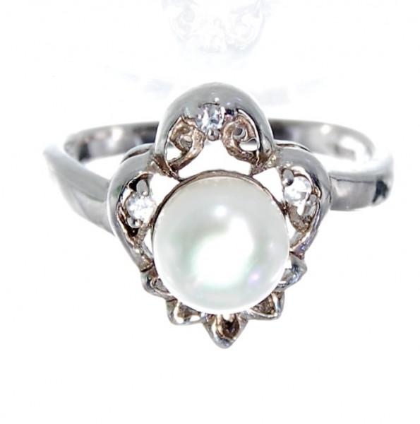Perlen Ring Silber Gr. 52