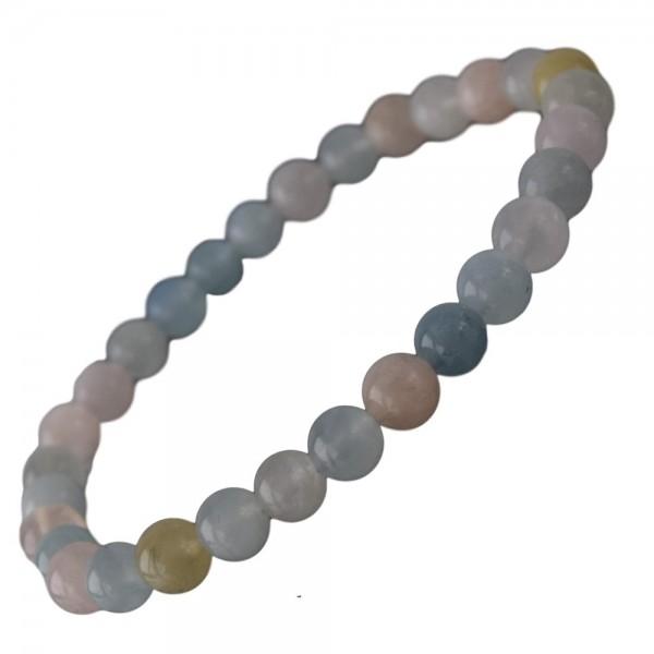 Beryll Armband Aquamarin & Morganit & Goldberyll 6 mm Kugel