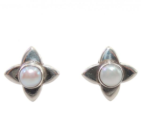 Perlen Ohrstecker Stern 925 Silber