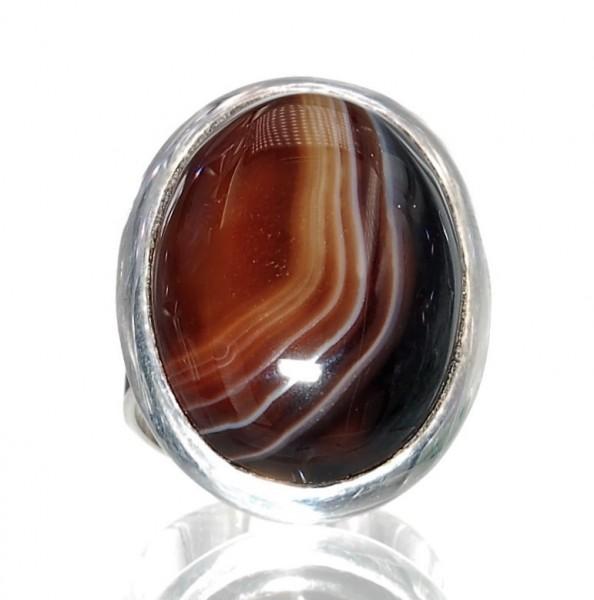 Sardonyx Ring Silber Design Unikat Gr. 61